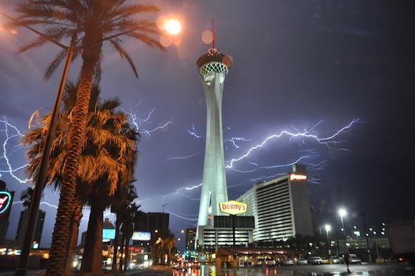 lightning lights up sign